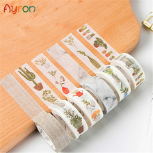Masking Tapes Stationery-Tape Stickers Decorative Paper Adhesive Marble White DIY 1X
