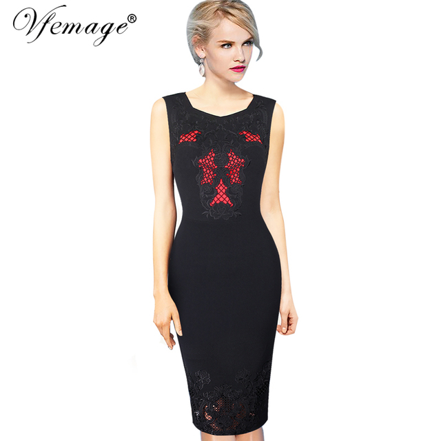 d9a16668072 Vfemage Womens Summer Embroidery Elegant Vintage Casual Sleeveless Wear To Work  Office Party Evening Pencil Bodycon Dress 4337