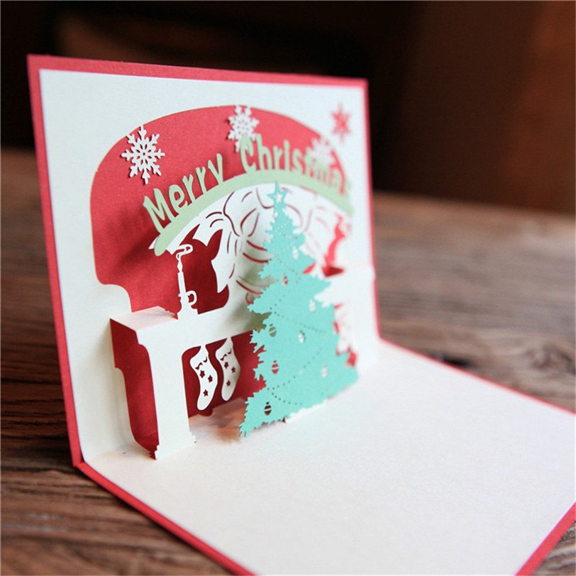 3D Pop Up Merry Christmas Cards DIY Santa Christmas Tree Festival Greeting Card New Year Decoration Gift Dropshipping 8O08