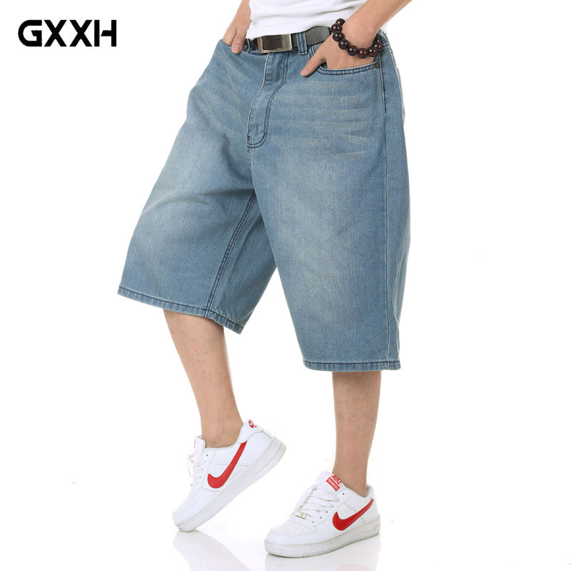 2018 new Mens Large size Mid-rise jeans Mens Summer Light Blue shorts Mens Loose 5 point ...
