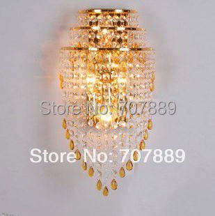 Free shipping Modern gold crystal wall lamps Luxury bedroom wall lights living-room fixture lighting light Sconces decor WL020 luxury novelty design k9 crystal modern ceiling chandelier home lighting fixture for parlor living room bedroom free shipping