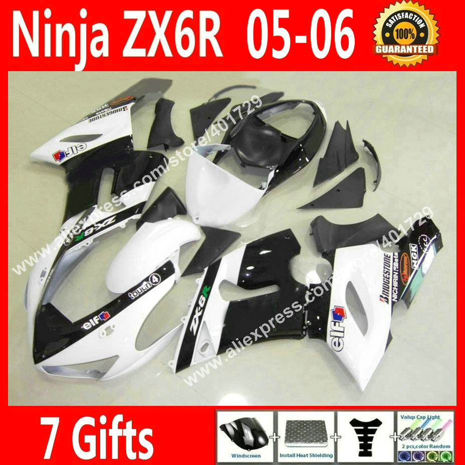 High quality Fairings for Motorcycle Kawasaki Ninja ZX-6R 636 2005 2006 ZX6R 05 06 new black white fairing kits GY56 high grade for kawasaki zx12r fairings 2000 ninja zx12 fairing 2001 zx 12r 00 01 green flame in glossy black sm17