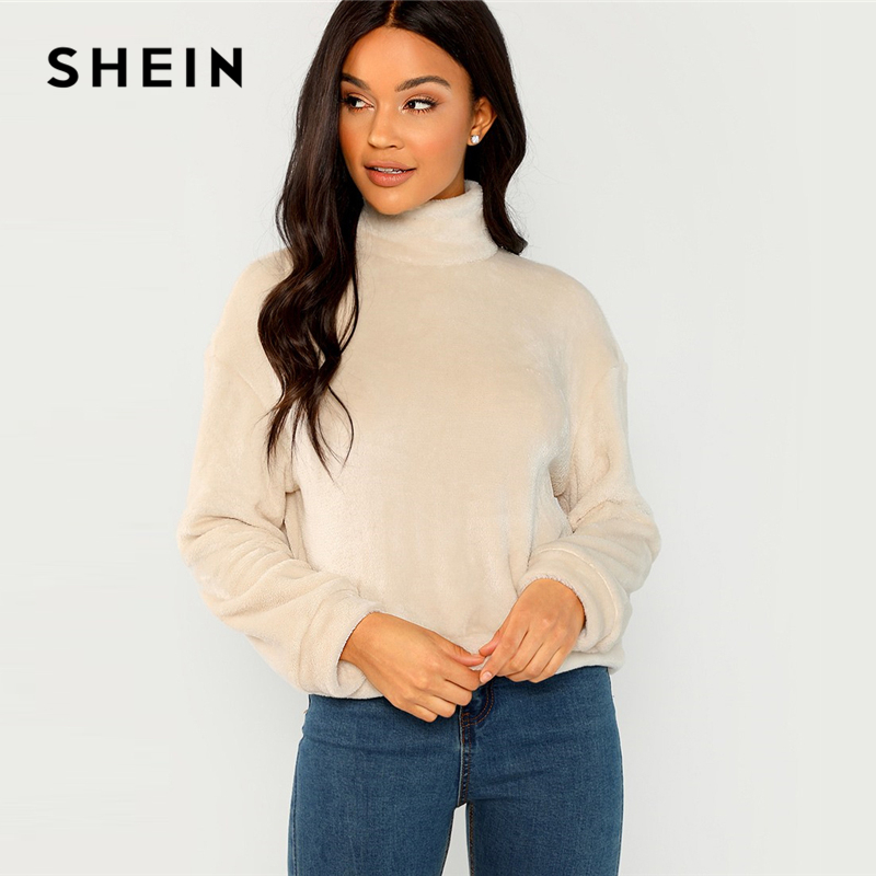 SHEIN Apricot Modern Lady Elegant High Neck Faux Fur Belted Solid Pullover Sweatshirt Winter Minimalist Casual Women Sweatshirts
