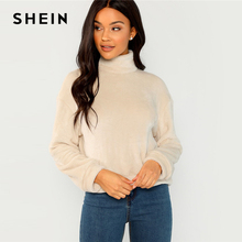 99727dbe6766 SHEIN Apricot Modern Lady Elegant High Neck Faux Fur Belted Solid Pullover  Sweatshirt Winter Minimalist Casual
