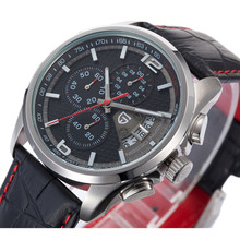 2016 Mens relojes de primeras marcas de lujo cronógrafo 50 M impermeable reloj de cuarzo relogio masculino militar reloj de pulsera de cuero