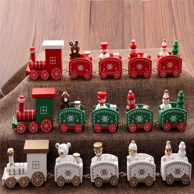 christmas train painted wood indoor christmas decoration for home with santabear xmas kid toys - Christmas Train Decoration