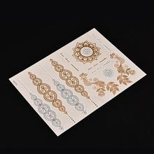 1pc Arabic Henna Tattoo Body Paint Tattoo Taty Glitter Gold Tattoo Stickers Metal Temporary Flash Tattoos