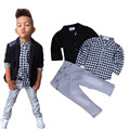 Children clothing 2017 New gentlemen 3pcs kids fashion boys clothing sets coat jacket+ plaid T-shirt+pants set sports tracksuit