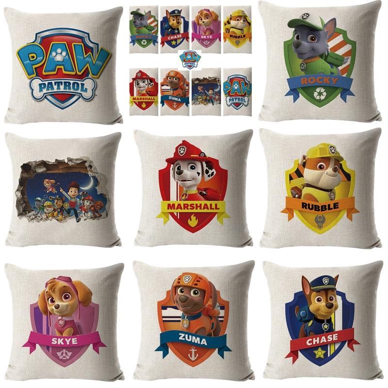 Paw Patrol Toys Set Pillow Pillowcase Sofa Cushion Plush Filling Pillow Cotton Linen Soft Action Figures Toys For Children Gifts