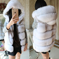 Thick Natural Fox Fur Vest Woman Genuine Fur Coat For Women's Real Furs Vests Hooded Fur Jacket Winter Warmest Waistcoat