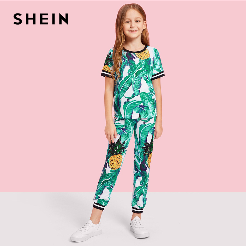 Image 3 - SHEIN Kiddie Girls Jungle Leaf Print Top And Pants Casual Set Kids Clothing Sets 2019 Summer Korean Short Sleeve Beach Suit Sets-in Clothing Sets from Mother & Kids