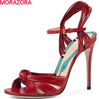 MORAZORA Big Size 34 43 Summer Fashion Party Sexy Women 10 5cm High Heels Sandals Buckle