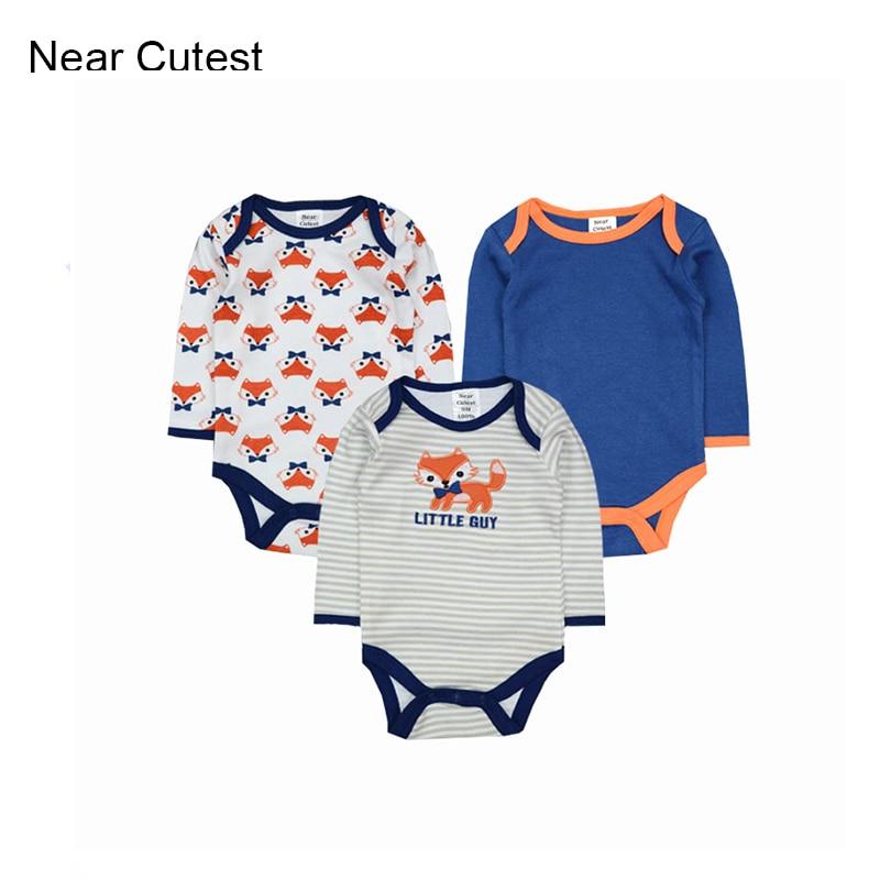 Near Cutest 3pcs/lot Baby Romper 2017 Baby Clothing Newborn Baby Boy Clothes Baby Overall Bebe Clothes roupa de bebe menino