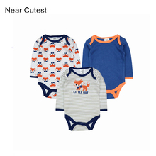 Near Cutest 3pcs lot Baby Romper 2017 Baby Clothing Newborn Baby Boy Clothes Baby Overall Bebe
