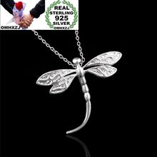 OMHXZJ Wholesale Personality Fashion OL Woman Girl Party Gift Silver Dragonfly 925 Sterling Charm Pendant Necklace CH78