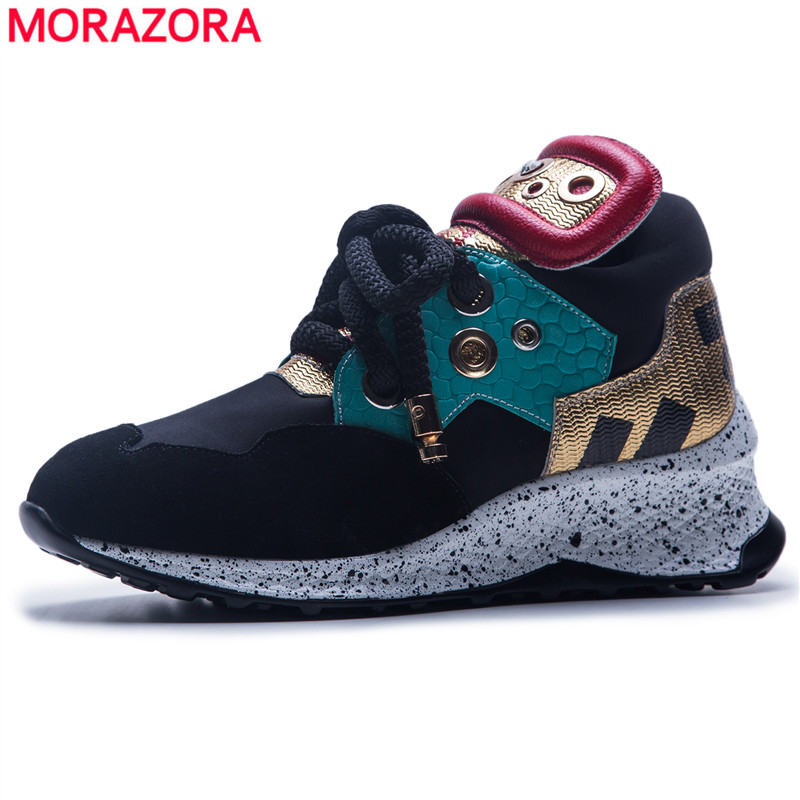 MORAZORA 2018 Newest lace up women sneakers platform flats genuine leather spring autumn casual shoes ladies flat shoes vtota women genuine leather oxfords sneakers women white flat shoes spring platform shoes zapatos mujer lace up casual flats f93