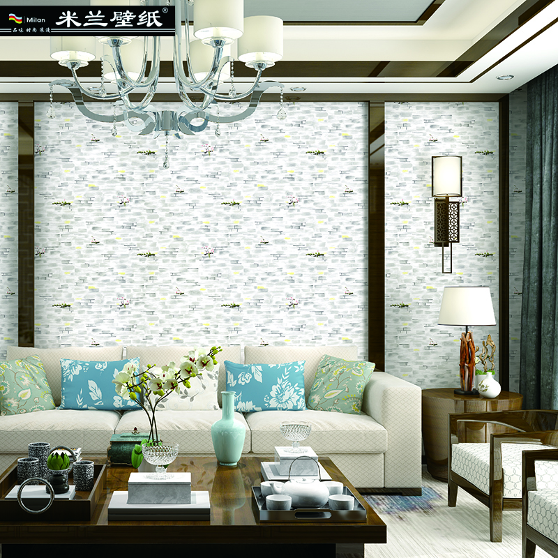 Warm Rustic Living Room Ideas: Rustic Brick Wall Wallpaper Chinese Style Vintage