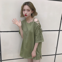 3 Colors Mihoshop Ulzzang Korean Korea Women Fashion Clothing Summer Round Neck Bandage Sexy High Street Green T shirt