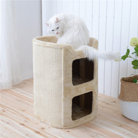 sisal cat tree house cat post scratching pets luxury play house cat scratcher large wood house for cat free shipping
