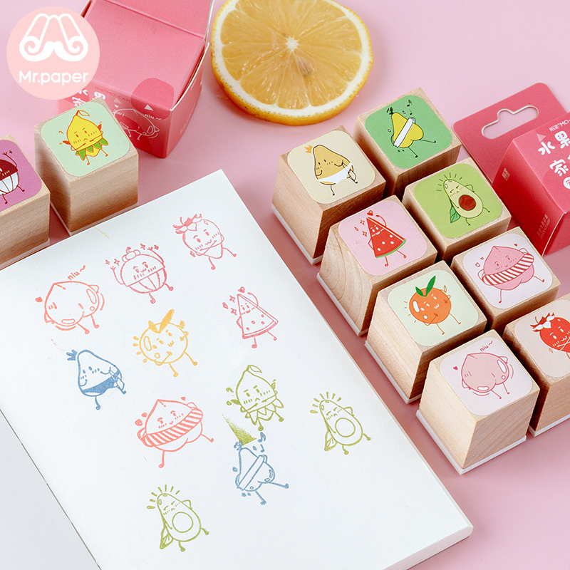 Mr Paper 10 designs Kawaii Fruits Peach Pear Strawberry Wooden Rubber Stamps for Scrapbooking Decoration DIY Craft Wooden Stamps|  -