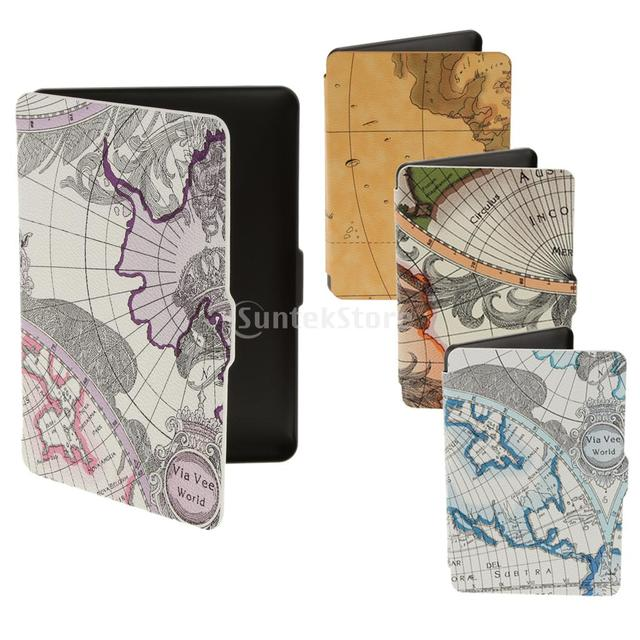 world map patten case cover skin for amazon kindle paperwhite 123