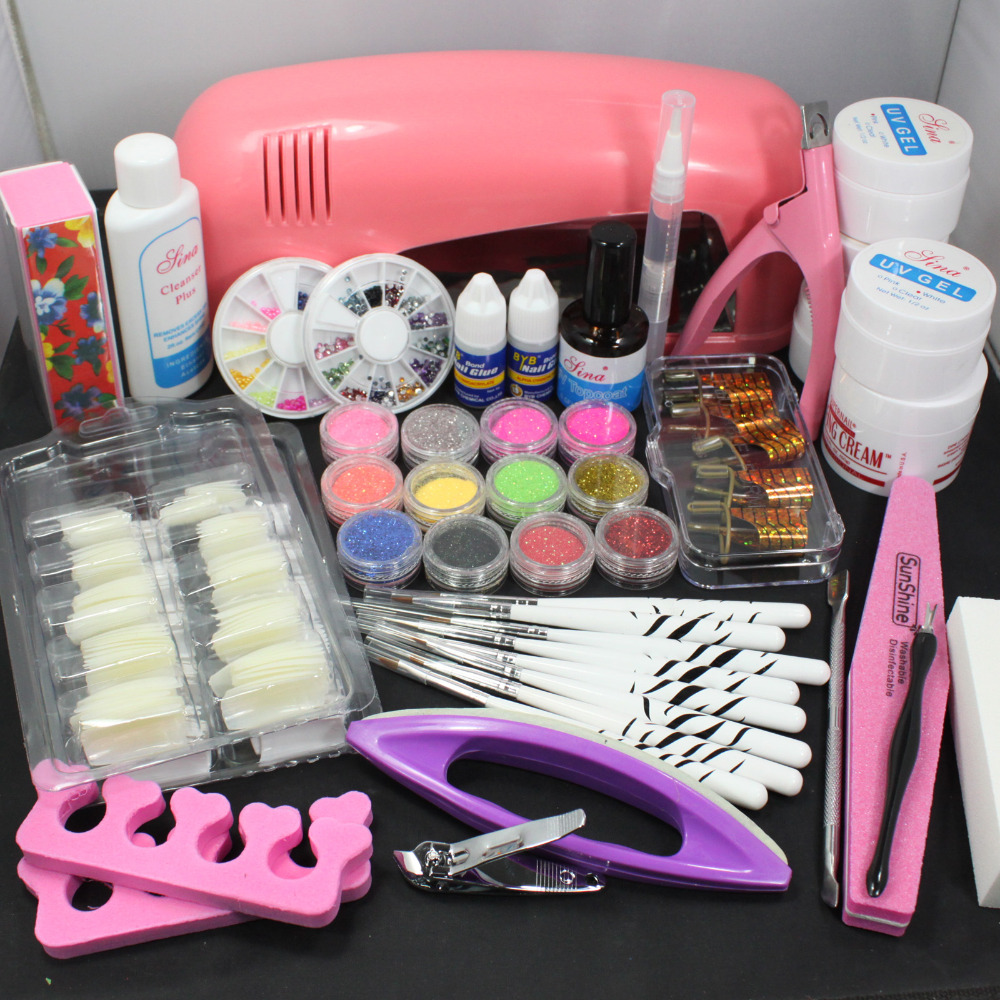 Pro Nail Art UV Gel Kits Tools Pink UV Lamp Brush Tips Glue Acrylic Powder Set