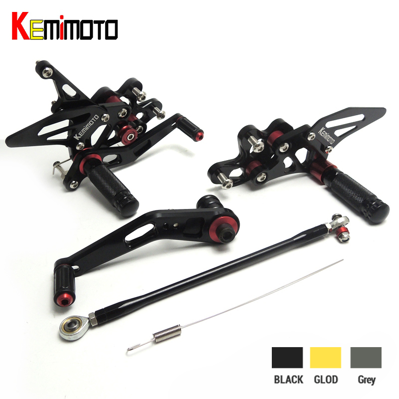 KEMiMOTO For SUZUKI <font><b>GSX</b></font>-R <font><b>600</b></font> 750 2006 2007 <font><b>2008</b></font> 2009 2010 GSXR600 GSXR750 GSXR CNC Adjustable Rearsets Foot Rest Pegs rear sets image