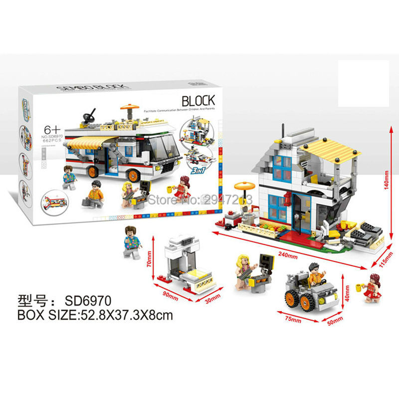 662 PCS hot sembo block compatible lepin city mini Street View 3in1 Camping Touring car Yacht Building blocks Toys for children hot sembo block compatible lepin architecture city building blocks led light bricks apple flagship store toys for children gift