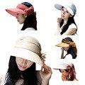 2015 Nueva Moda Estilo Coreano Señora Caps Sombreros de Sun Protector Solar Salacot Del Sombrero Grande A Lo Largo del Conjunto de Regalo