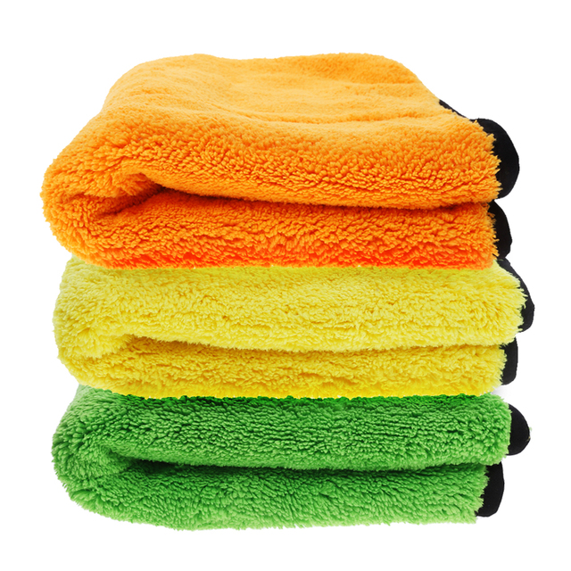 45 * 38 Car-Styling Two-Color Double-Sided Thick Super-Absorbent Coral Cashmere Towel for Car Washing High Quality