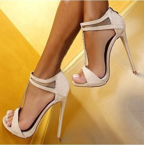 Hot Selling Crystal Summer Dress Shoes Black Pink Beige Suede Leather Ankle Strap Cut-out Sandals High Heel T-bar Real Photo hot selling denim blue ankle strap buckle high heel sandals cut out thick heel gladiator sandals for women summer dress shoes