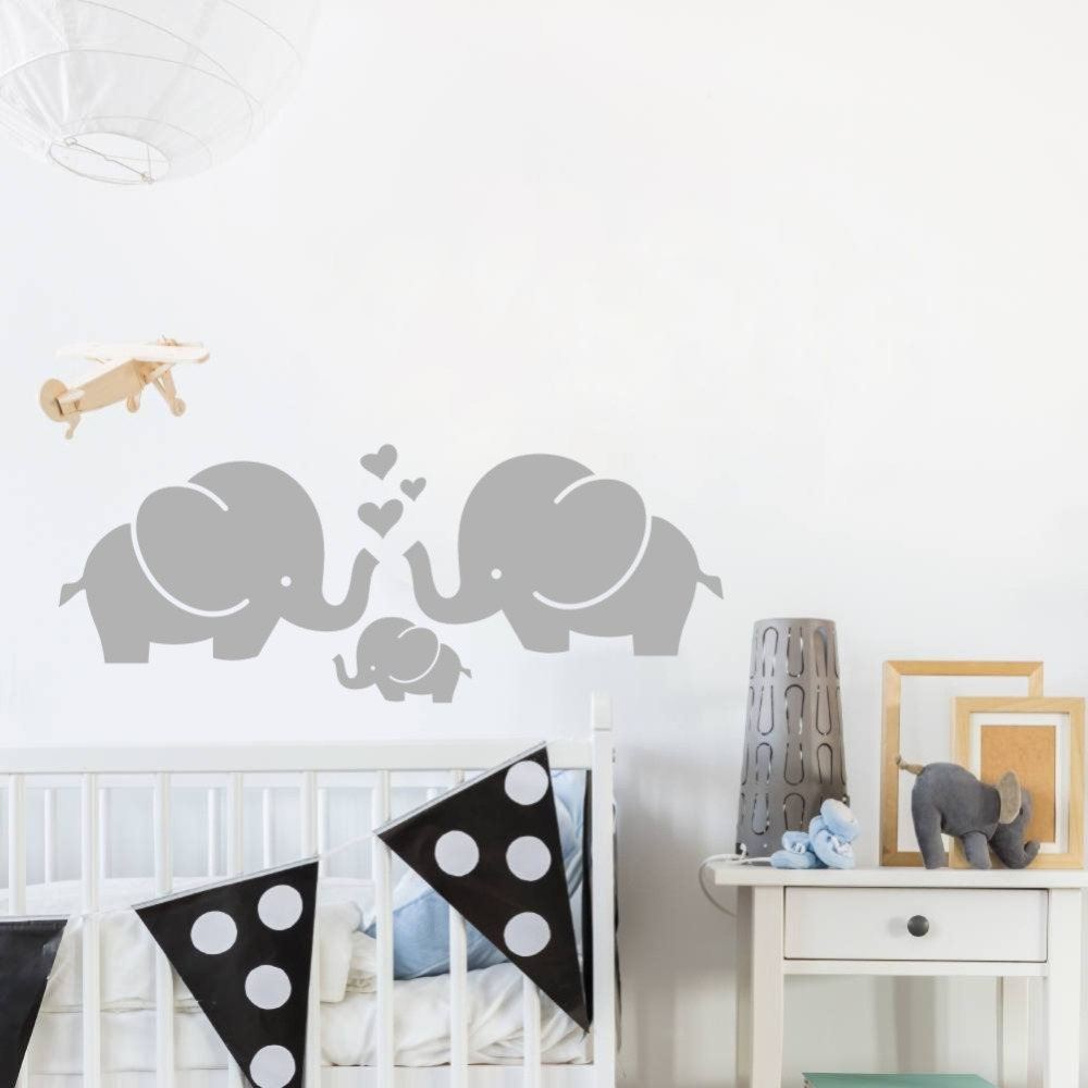 Cute Elephant Hearts Family Vægoverføringsbilleder til Baby Room Decor Kids Room Wall Stickers Two Size