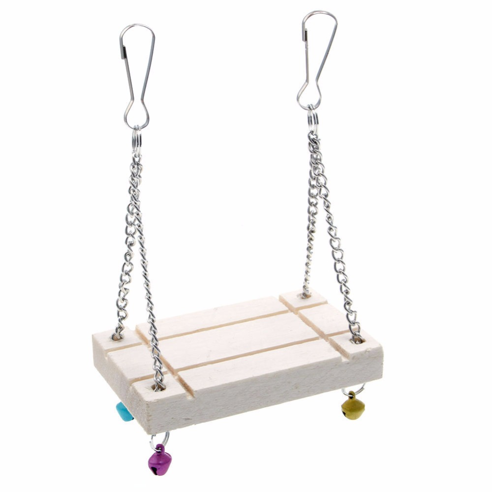 hight resolution of 1 pc x hamster cage toys seesaw wooden swing harness parrot pet hanging bell suspension