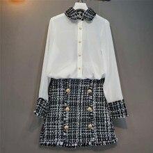 QoerliN Tweed Skirts and White Blouse Women Long Sleeve Tops Chiffon Shirts Ladies Elegant Short Girls 2 Piece Suits S-XL