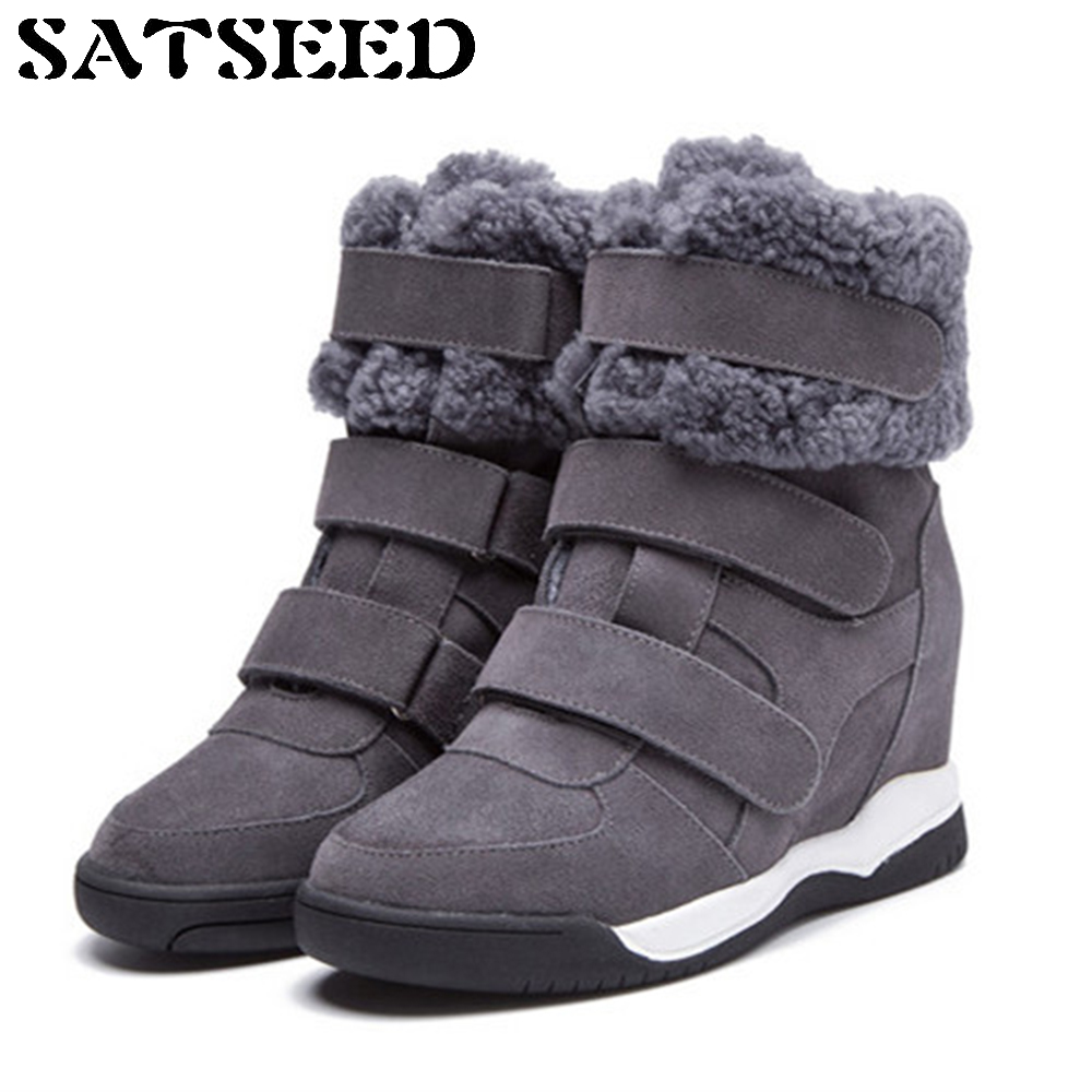 New Brand Winter Boots Women Hook Wedge Heel Shoes Hidden Wedge Shoes Genuine Leather Wedge Hidden Heel Shoes Flock Platform nayiduyun women genuine leather wedge high heel pumps platform creepers round toe slip on casual shoes boots wedge sneakers