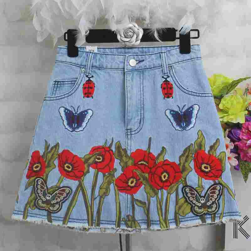 2019 jupe en jean pour femme avec jupe florale brodée