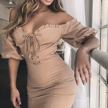 Sexy Dress Women Off Shoulder Tube Top Spring Summer Short Sleeve Slim Bodycon Dress Party Elegant Bag Hip Short Dress Vestidos
