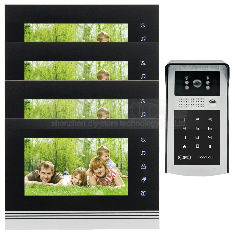 DIYSECUR 7 inch Touch Button Video Door Phone Intercom Doorbell IR Night Vision HD 300000 Pixels Camera 1V4