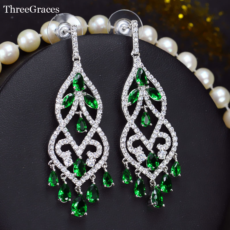 ThreeGraces White Gold Color Shining Green CZ Crystal Hangging Long Tassel Drop Earring Women Wedding Banquet Prom Jewelry ER169