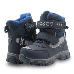 Image 5 - Apakowa冬男の子の雪のブーツ防水アンクル子供ブーツフラット暖かいwollen裏地子供の靴ぬいぐるみ冬のブーツ男の子