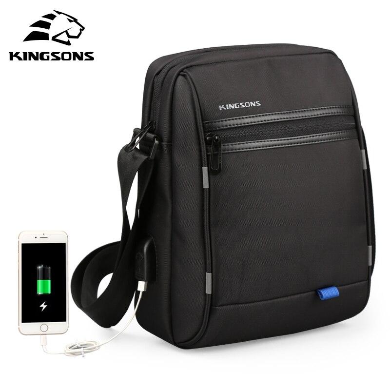 Kingsons 2019 New USB Charging Tablet PC Bag For Pad Crossbody Bag Men Laptop Shoulder Messenger Bag Waterproof 10.1 Inch