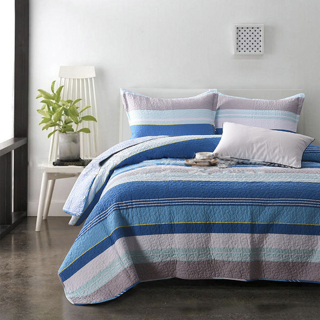 chausub american blue stripe quilt set 3pcs washed cotton quilts