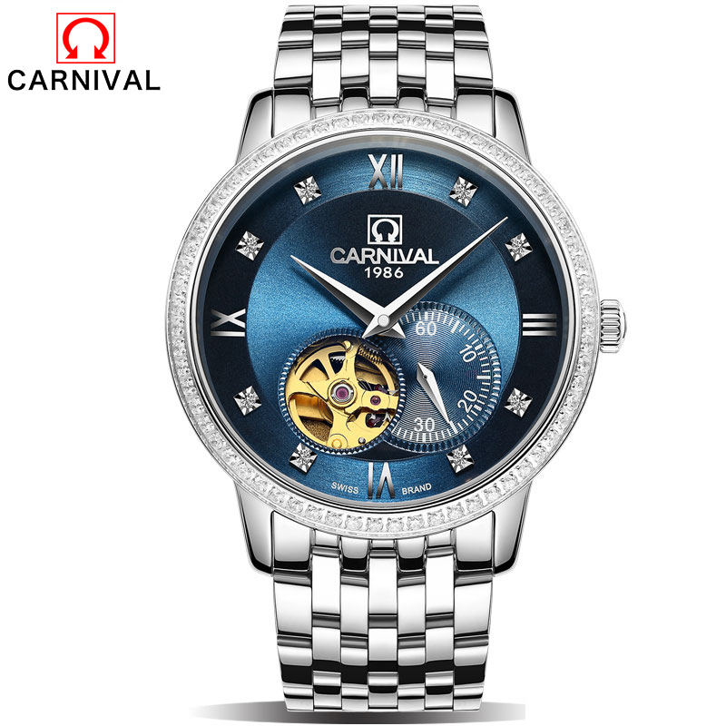 Carnival Retro Classic Scale Golden Case Small Dial Design Relogio Masculino Mens Automatic Watches Top Brand Luxury Wrist Watch luxury brand mg orkina new design relogio masculino engraving skeleton mens automatic watches top brand wrist watch