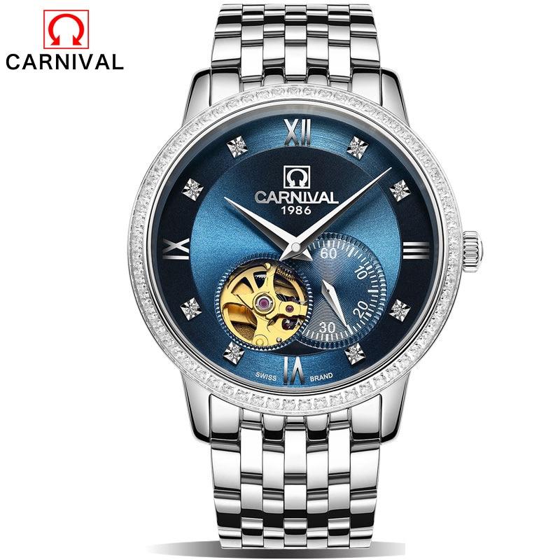 Carnival Retro Classic Scale Golden Case Small Dial Design Relogio Masculino Mens Automatic Watches Top Brand Luxury Wrist Watch аквабокс aquapac small vhf classic case 228