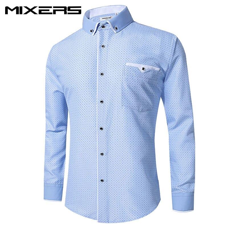 2018 Brand Blue Printed Dress Shirt Men Long Sleeve Big Size Combed Cotton Casual Shirts Men Formal Dress Shirt Mens Clothes