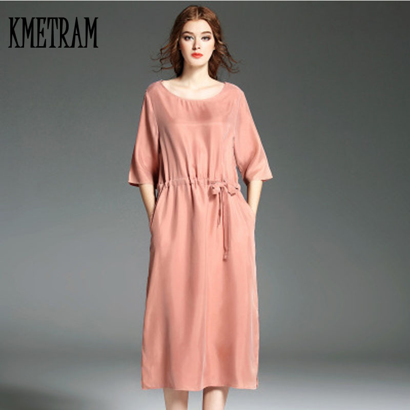 KMETRAM Women Vintage Silk Dress Spring Red Pink Dress Summer Clothes For Women 2019 Summer Dress