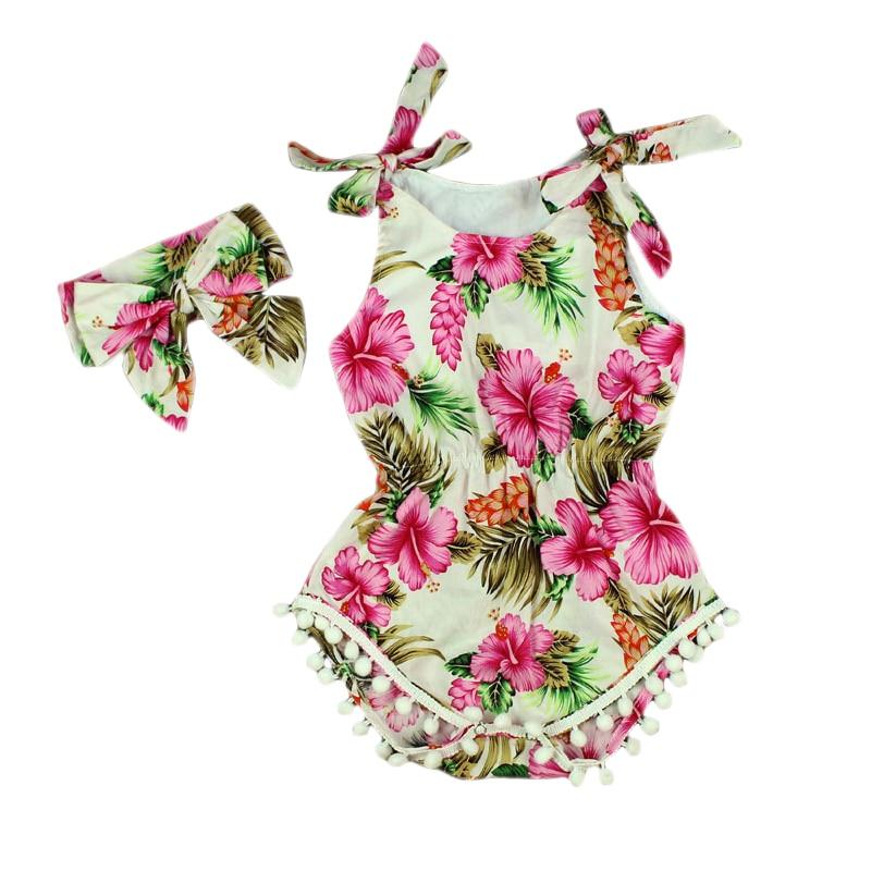 2016 ny vintage blommig bomull baby romper nyfödda bebis tjejer pompom kläder barn nyfödd kostym toddler barn kläder utkläder