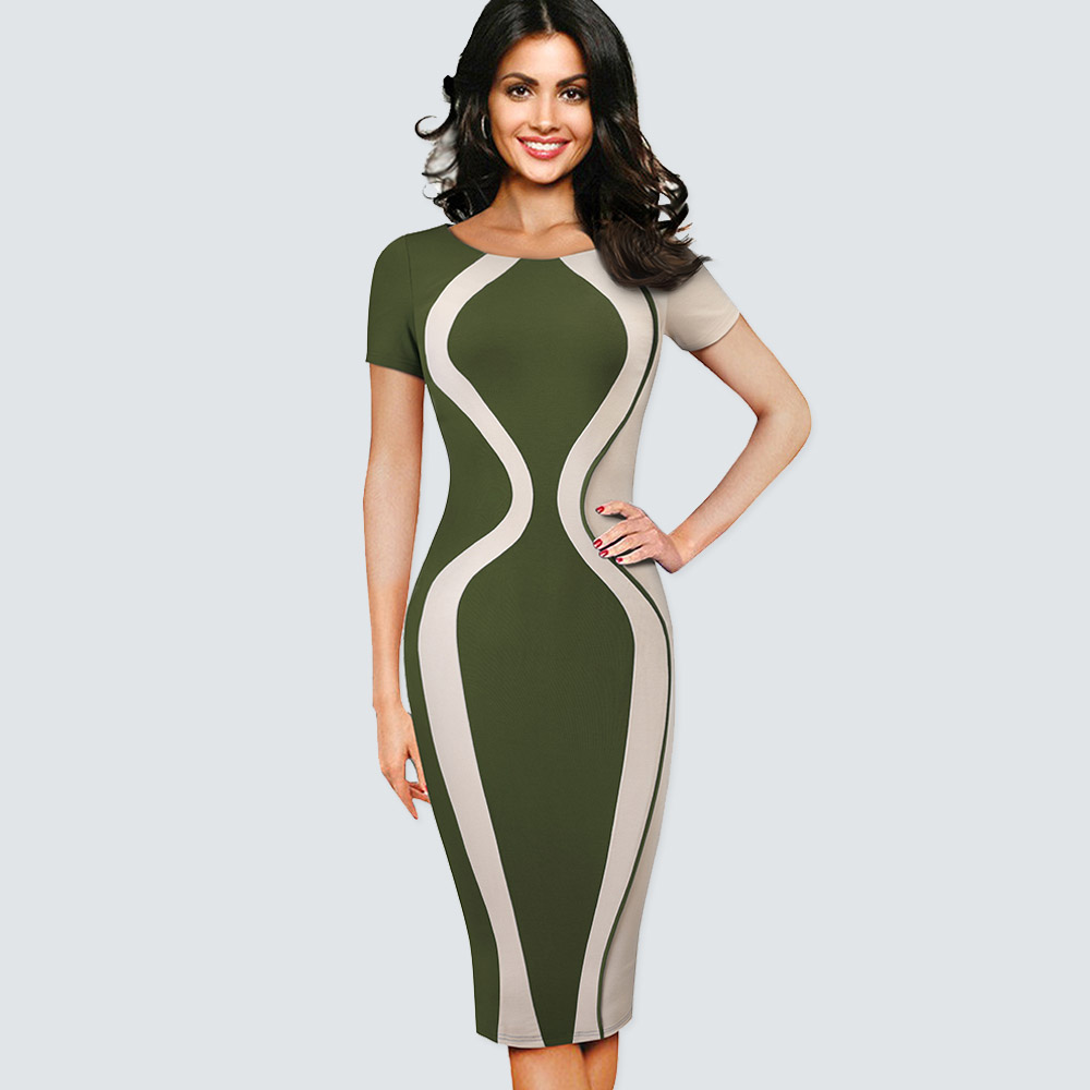 Patchwork Kontrast Fashion Optional Illusion Rundhals Kurzarm Vintage Sommer Kleid Dame Geschäfts Zipper Büro Kleid B315 Mit Einem LangjäHrigen Ruf