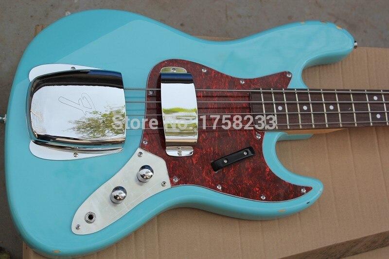 . Livraison gratuite De Haute Qualité Personnalisé corps acajou corps 4 cordes FD Signature Ciel bleu Jazz Bass guitare