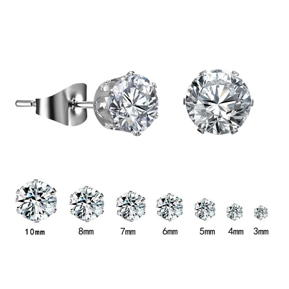 1 Pair Silver Round Stud Earrings For Women CZ AAA Zircon Ear Piercing Studs Surgical Steel Jewelry 3mm-10mm Women Girl Gift